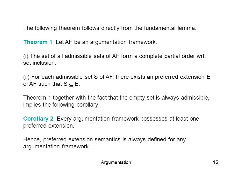 Argumentation15 The following theorem follows directly from the fundamental lemma.