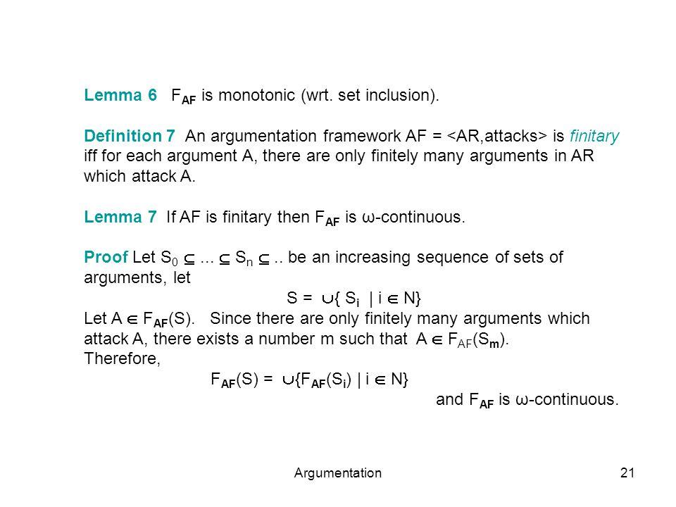 Argumentation21 Lemma 6 F AF is monotonic (wrt. set inclusion). Definition 7 An argumentation framework AF = is finitary iff for each argument A, ther
