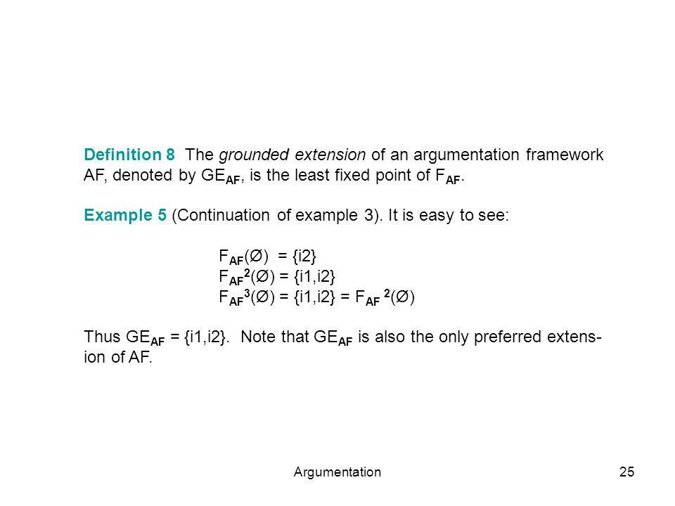 Argumentation25 Definition 8 The grounded extension of an argumentation framework AF, denoted by GE AF, is the least fixed point of F AF. Example 5 (C