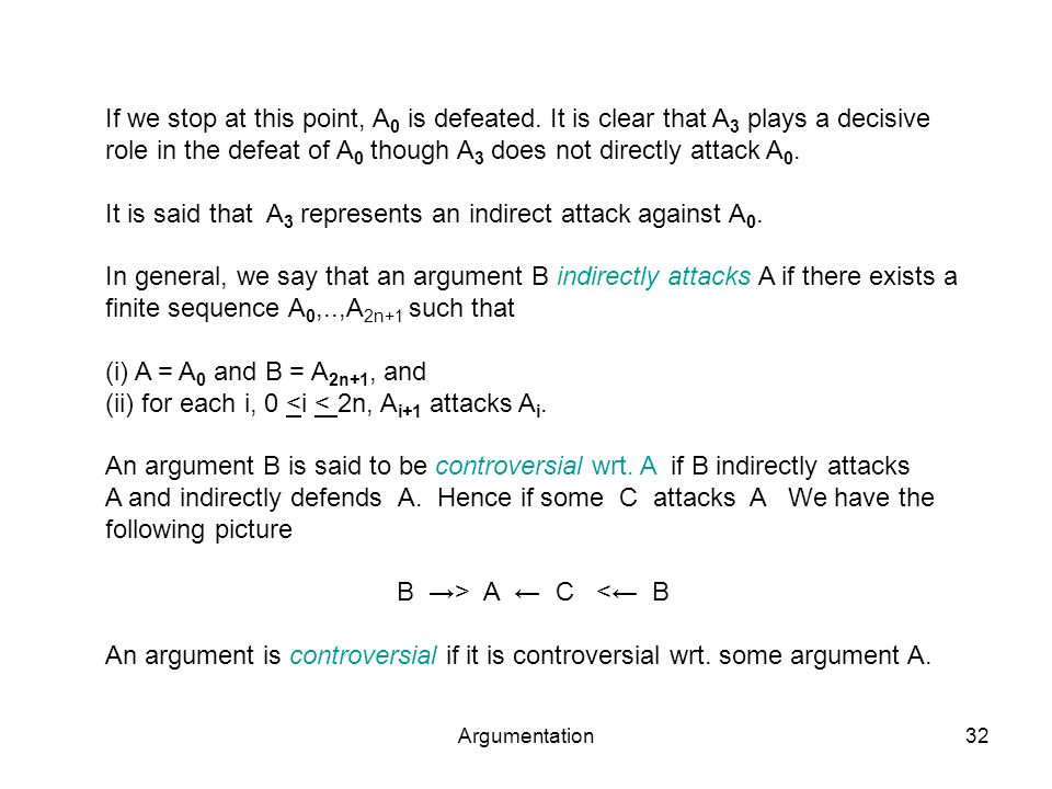 Argumentation32 If we stop at this point, A 0 is defeated.