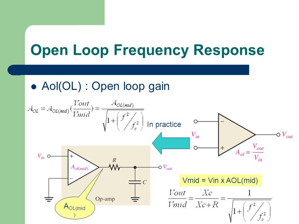 Open Loop Frequency Response Aol(OL) : Open loop gain In practice Vmid = Vin x AOL(mid) A OL(mid )