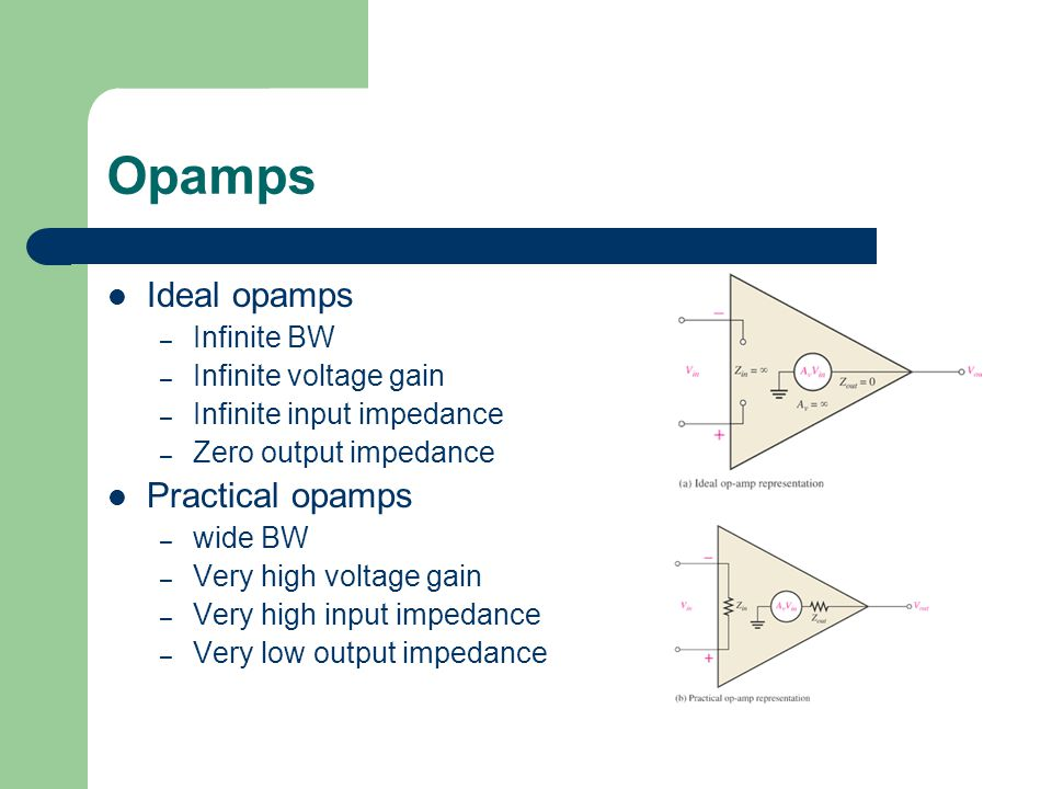 Opamps Ideal opamps – Infinite BW – Infinite voltage gain – Infinite input impedance – Zero output impedance Practical opamps – wide BW – Very high voltage gain – Very high input impedance – Very low output impedance