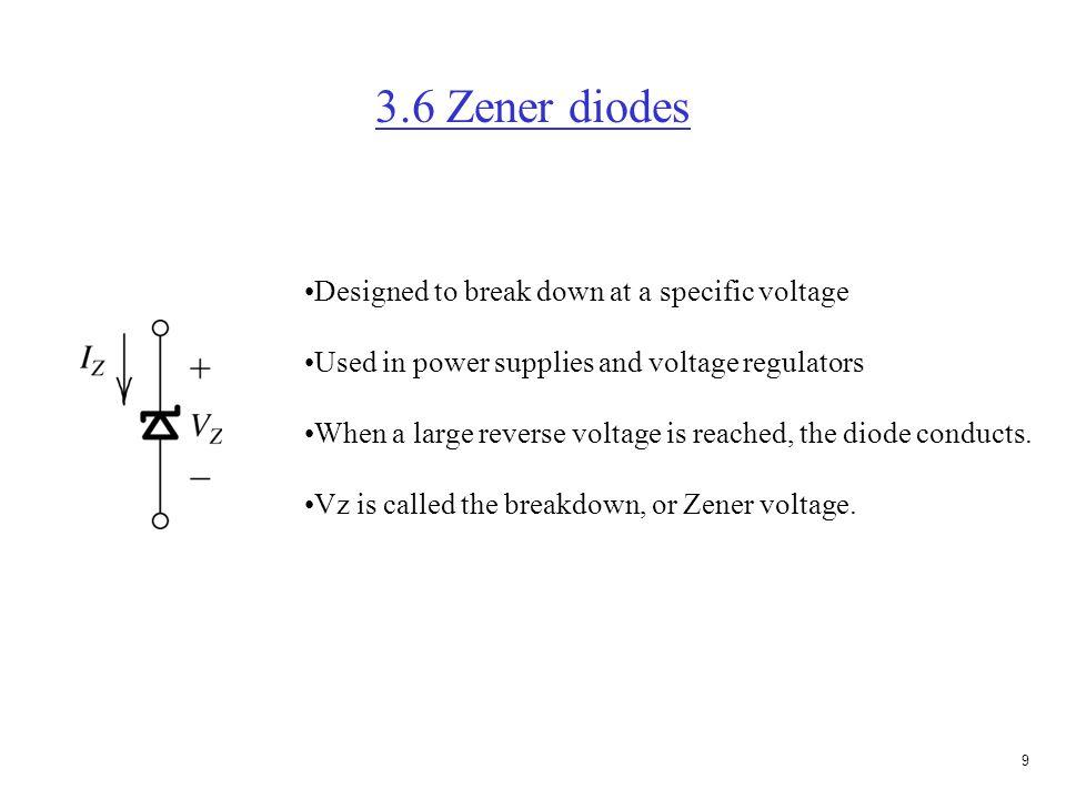 8 Exercise 3.4(e) (Start with largest voltage) Assume D1 on, then D2 will be off, and D3 will be off V = 3V, and I = 3V/1K  mA. Check assumption