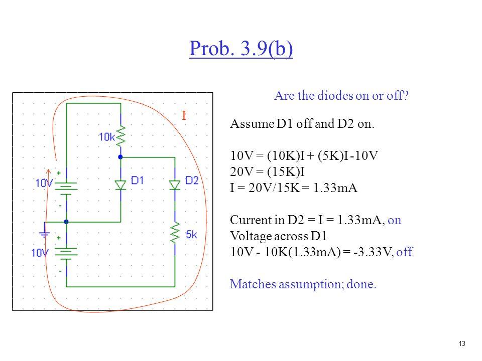 12 Prob. 3.9(b) Assume both diodes are on. 10V = (10K)I 1 I 1 = 10V/10K = I 1 = 1mA 0 = (5K)I 2 - 10V, I 2 = 2mA Current in D2 = I 2 = 2mA, on Current