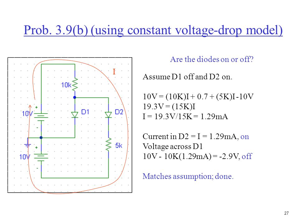 26 Prob.3.9(b) (using constant voltage-drop model) Assume both diodes are on.