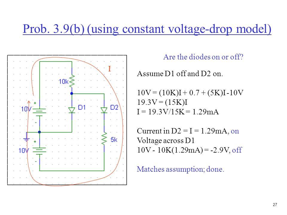 26 Prob. 3.9(b) (using constant voltage-drop model) Assume both diodes are on. 10V = (10K)I 1 + 0.7 I 1 = 9.3V/10K = I 1 = 0.93mA 0 = -0.7 + 0.7 + (5K