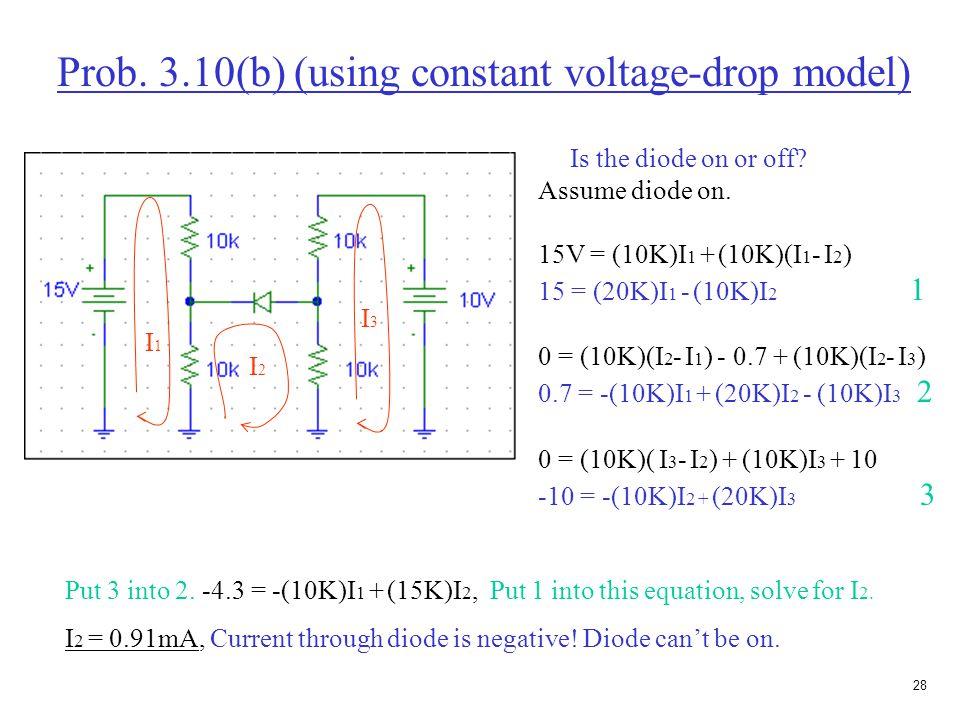 27 Prob. 3.9(b) (using constant voltage-drop model) Assume D1 off and D2 on. 10V = (10K)I + 0.7 + (5K)I -10V 19.3V = (15K)I I = 19.3V/15K = 1.29mA Cur