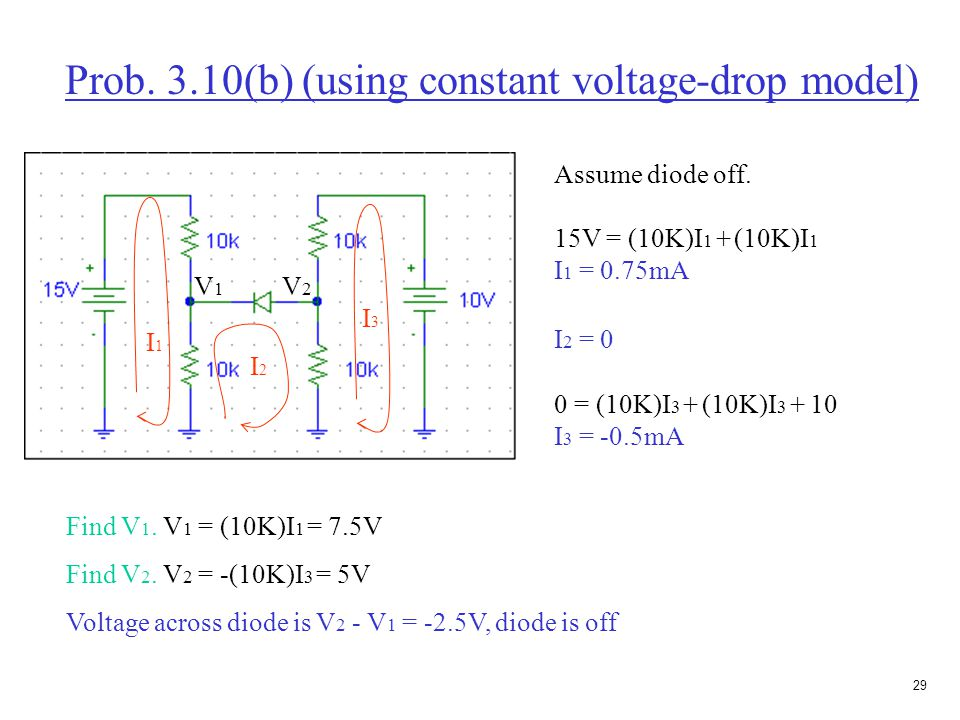28 Prob.3.10(b) (using constant voltage-drop model) Assume diode on.