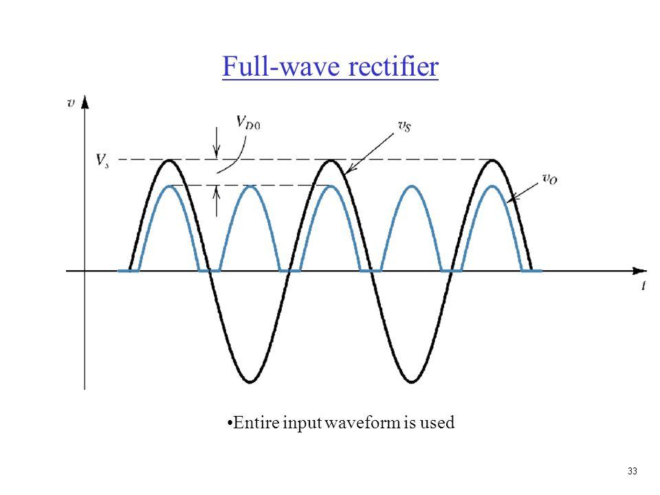 32 Full-wave rectifier V S > 0 V S < 0 Current goes through load in same direction for + V S. V O is positive for + V S. Requires center-tap transform