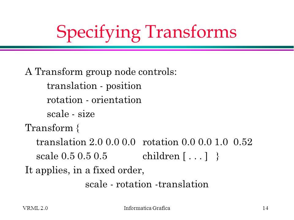 Informatica Grafica VRML 2.014 Specifying Transforms A Transform group node controls: translation - position rotation - orientation scale - size Trans