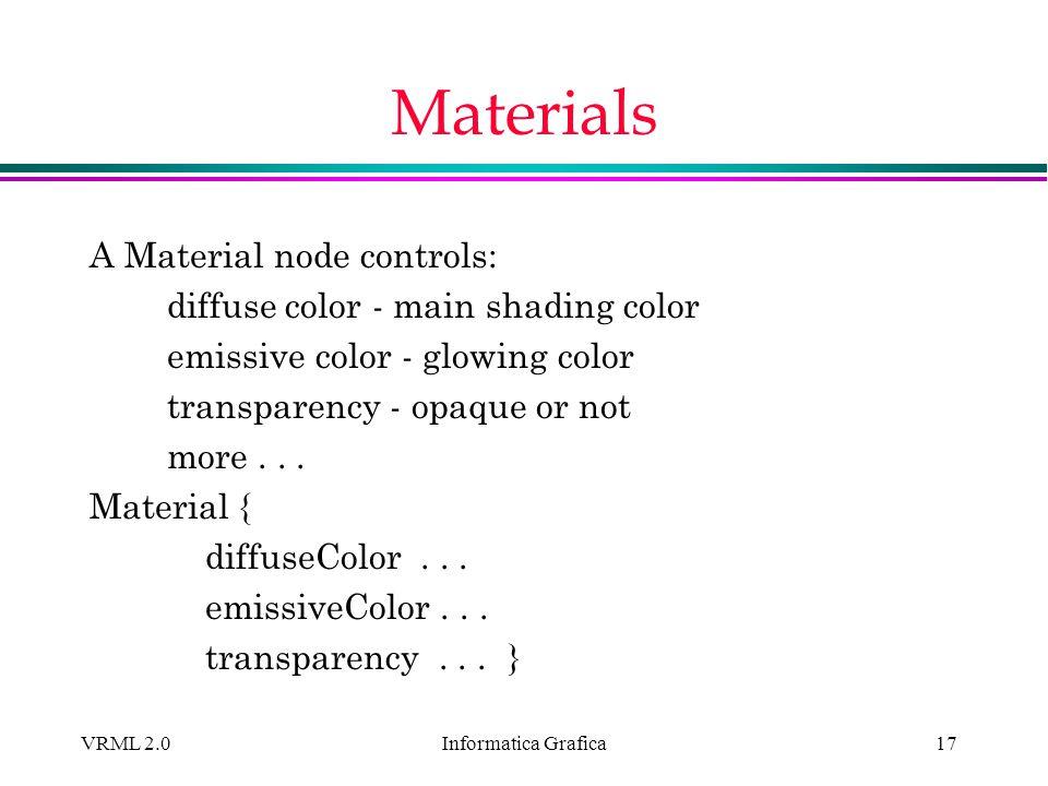 Informatica Grafica VRML 2.017 Materials A Material node controls: diffuse color - main shading color emissive color - glowing color transparency - op