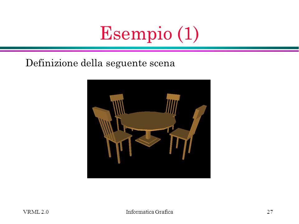 Informatica Grafica VRML 2.027 Esempio (1) Definizione della seguente scena