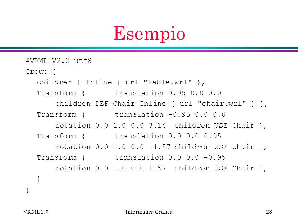 Informatica Grafica VRML 2.028 Esempio #VRML V2.0 utf8 Group { children [ Inline { url