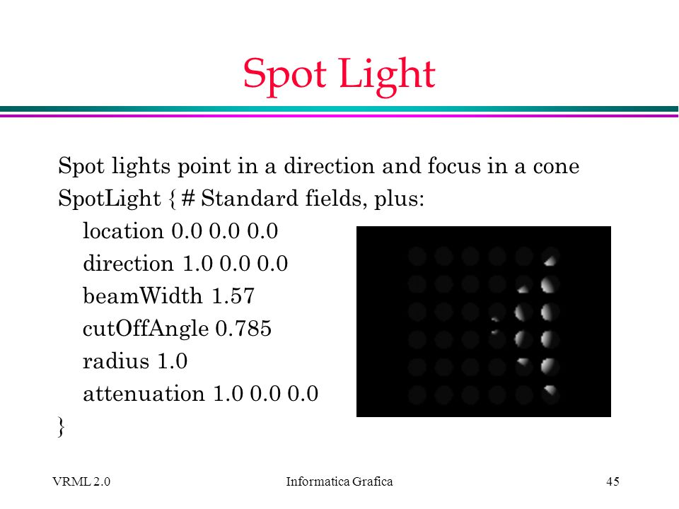 Informatica Grafica VRML 2.045 Spot Light Spot lights point in a direction and focus in a cone SpotLight { # Standard fields, plus: location 0.0 0.0 0