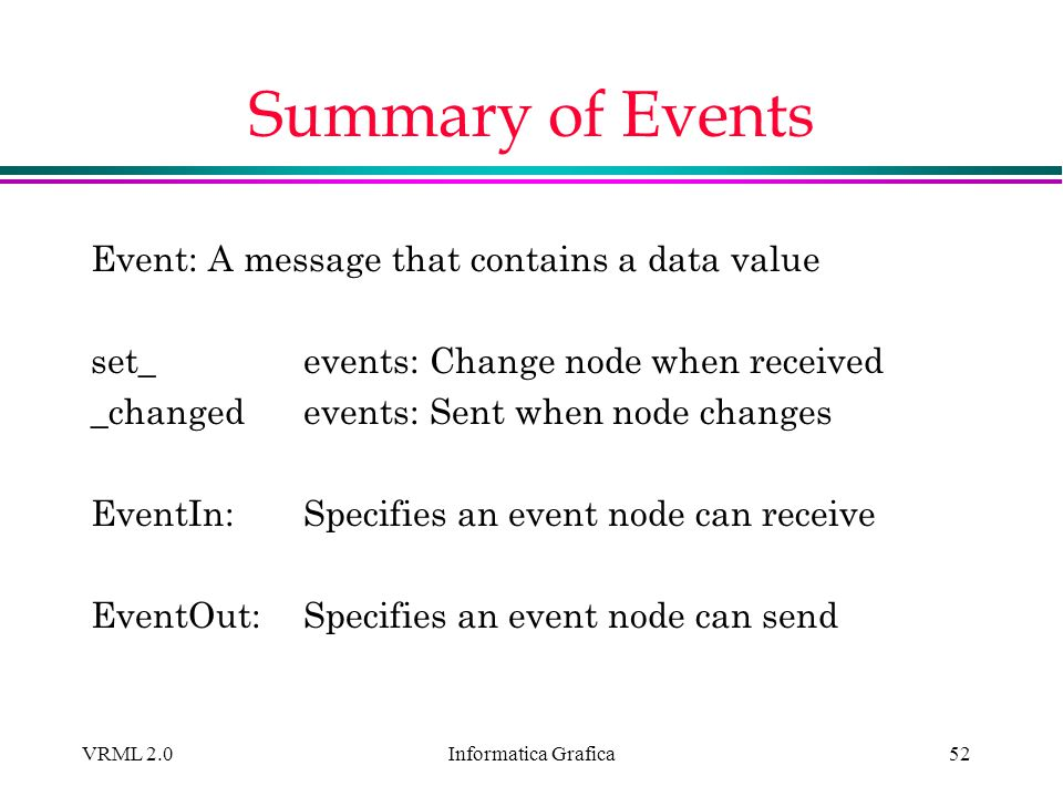 Informatica Grafica VRML 2.052 Summary of Events Event: A message that contains a data value set_ events: Change node when received _changed events: S
