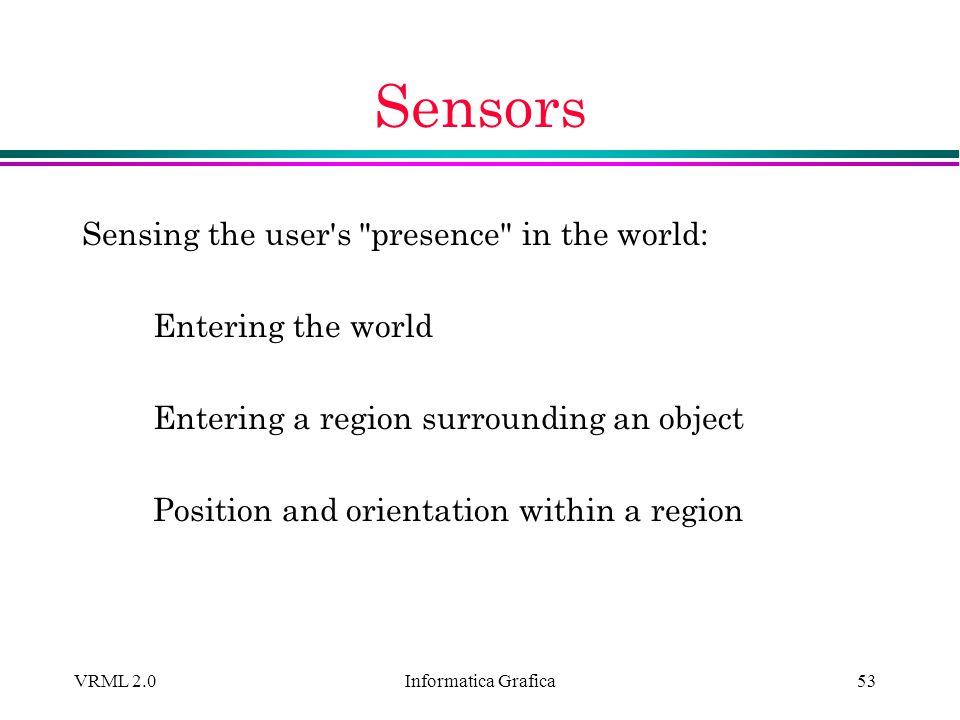Informatica Grafica VRML 2.053 Sensors Sensing the user's
