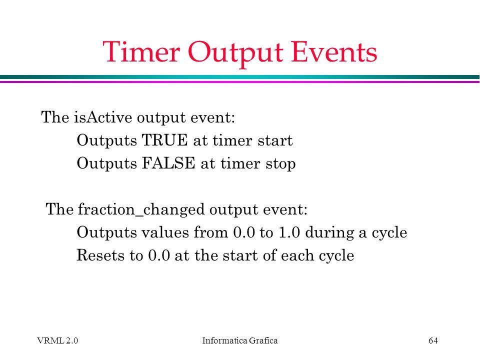Informatica Grafica VRML 2.064 Timer Output Events The isActive output event: Outputs TRUE at timer start Outputs FALSE at timer stop The fraction_cha