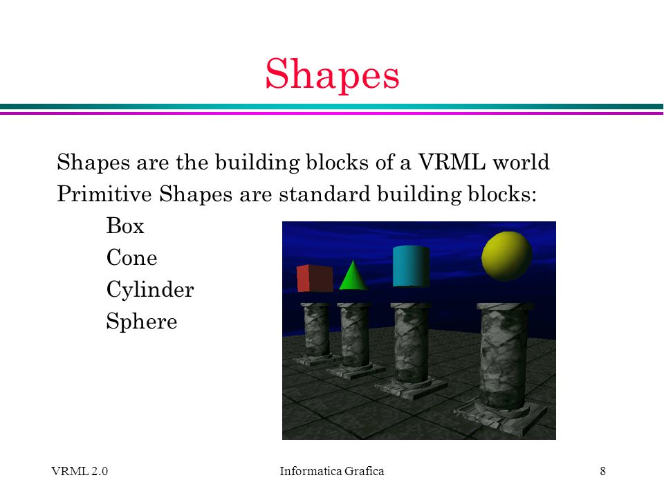 Informatica Grafica VRML 2.09 Shapes (2) Shape nodes describe: geometry - form, or structure appearance - color and texture Shape { geometry...