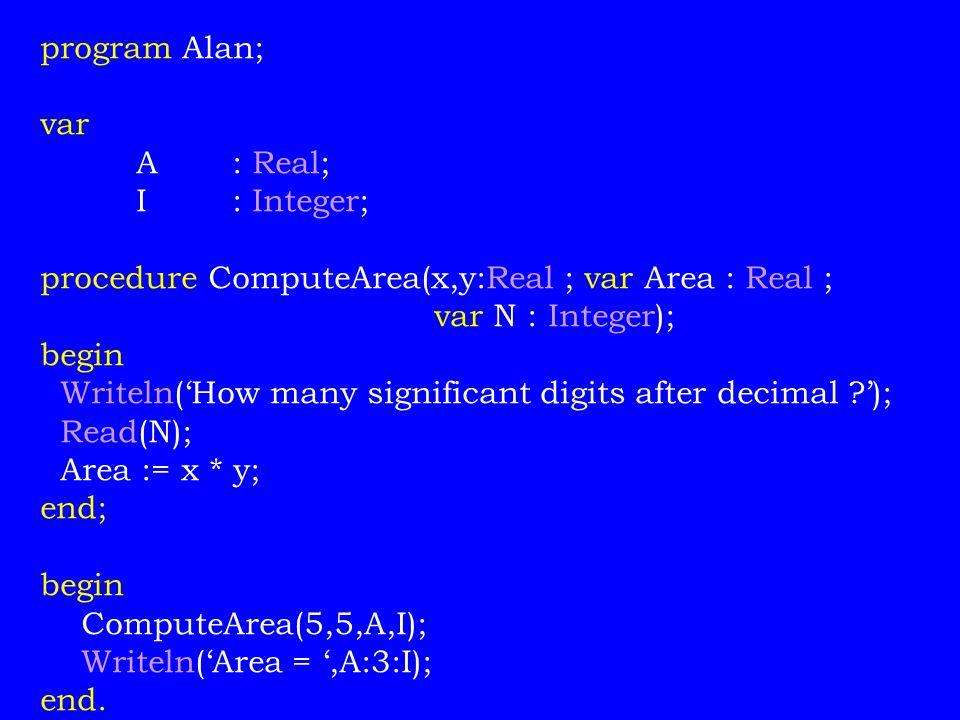 program Alan; var A: Real; I: Integer; procedure ComputeArea(x,y:Real ; var Area : Real ; var N : Integer); begin Writeln('How many significant digits after decimal ?'); Read(N); Area := x * y; end; begin ComputeArea(5,5,A,I); Writeln('Area = ',A:3:I); end.