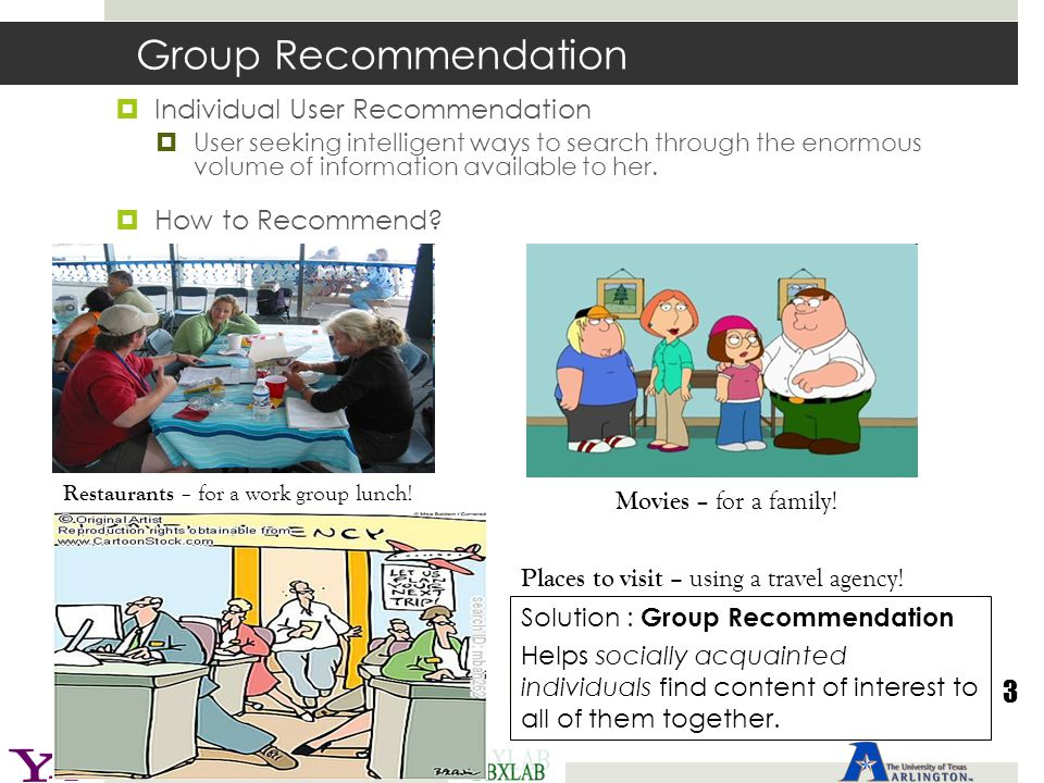 Group Recommendation  Individual User Recommendation  User seeking intelligent ways to search through the enormous volume of information available t