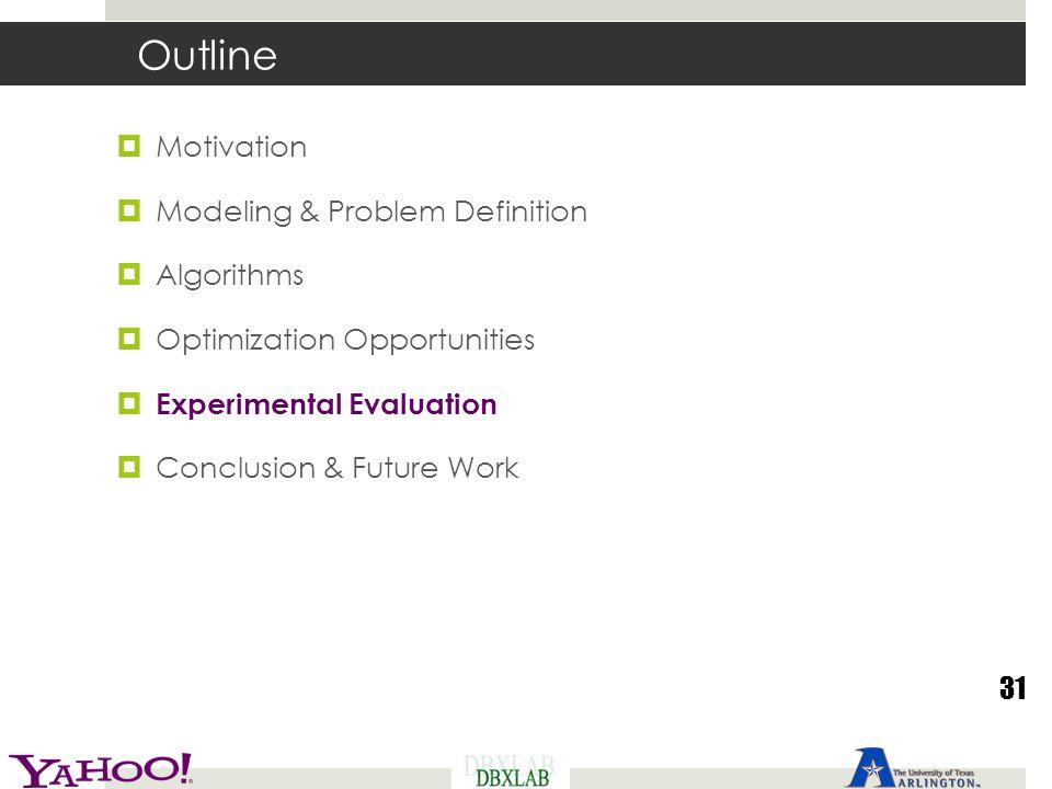 Outline  Motivation  Modeling & Problem Definition  Algorithms  Optimization Opportunities  Experimental Evaluation  Conclusion & Future Work 31