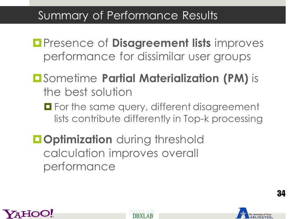Summary of Performance Results  Presence of Disagreement lists improves performance for dissimilar user groups  Sometime Partial Materialization (PM