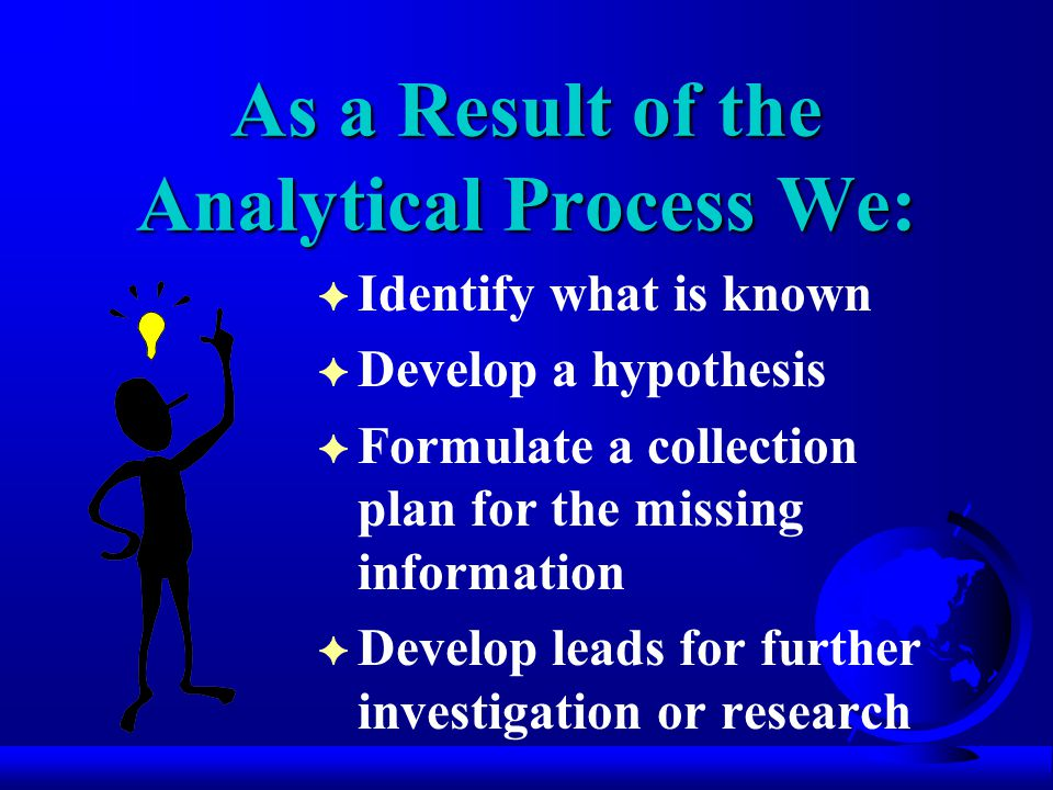 As a Result of the Analytical Process We: F Identify what is known F Develop a hypothesis F Formulate a collection plan for the missing information F Develop leads for further investigation or research