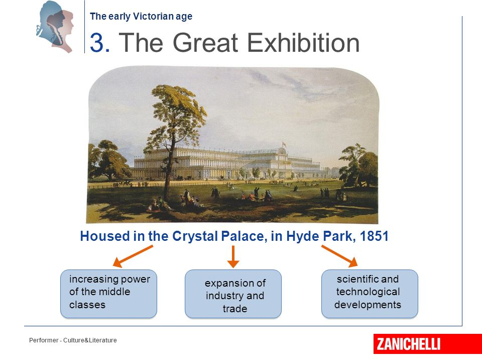 The early Victorian age Performer - Culture&Literature 3. The Great Exhibition increasing power of the middle classes expansion of industry and trade