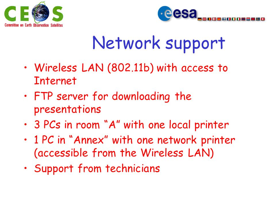 "Network support Wireless LAN (802.11b) with access to Internet FTP server for downloading the presentations 3 PCs in room ""A"" with one local printer 1"