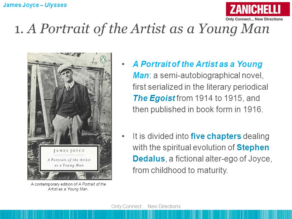 A Portrait of the Artist as a Young Man: a semi-autobiographical novel, first serialized in the literary periodical The Egoist from 1914 to 1915, and then published in book form in 1916.
