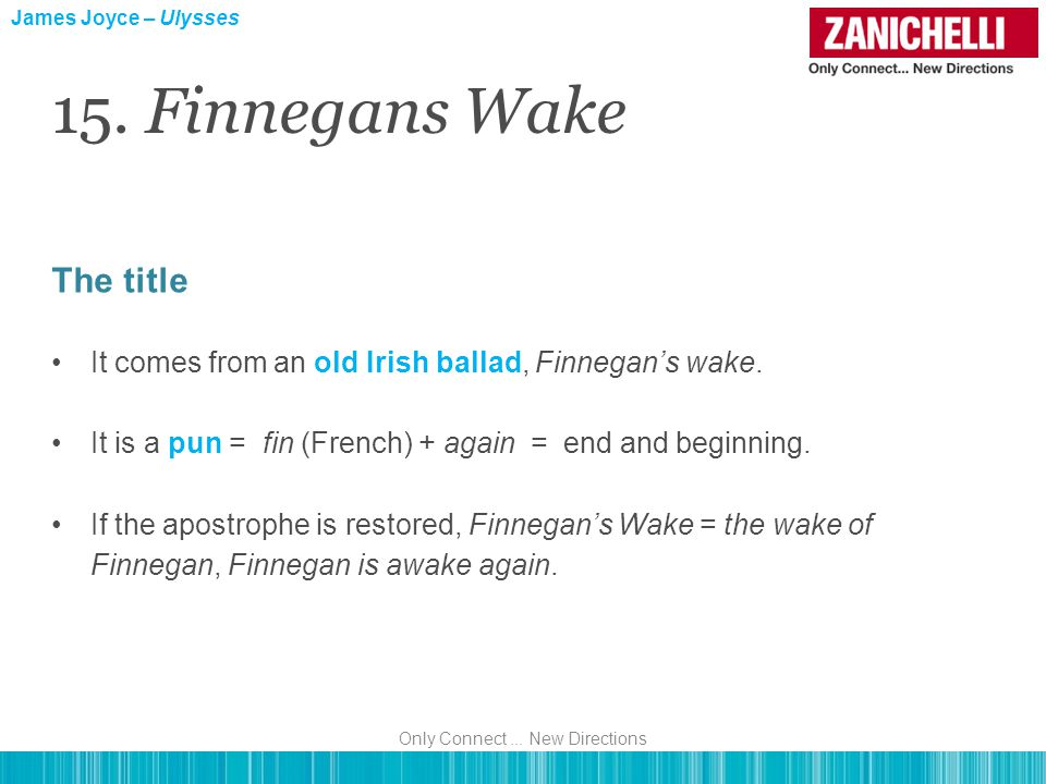 The title It comes from an old Irish ballad, Finnegan's wake. It is a pun = fin (French) + again = end and beginning. If the apostrophe is restored, F