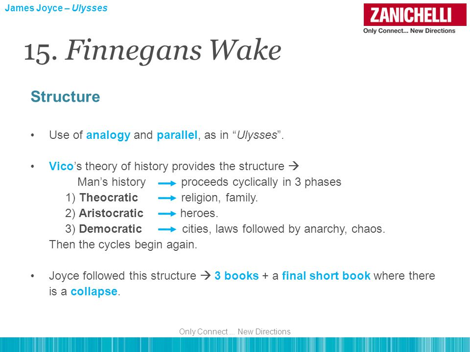 Structure Use of analogy and parallel, as in Ulysses .