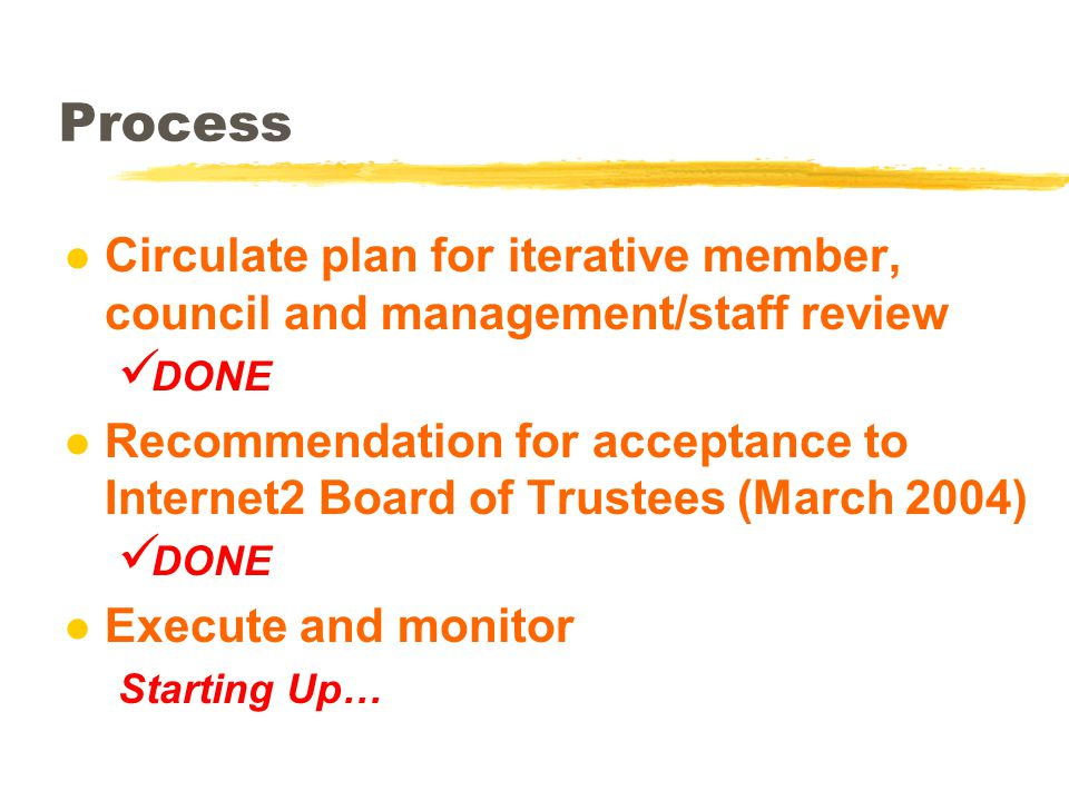 Process l Circulate plan for iterative member, council and management/staff review DONE l Recommendation for acceptance to Internet2 Board of Trustees (March 2004) DONE l Execute and monitor Starting Up…