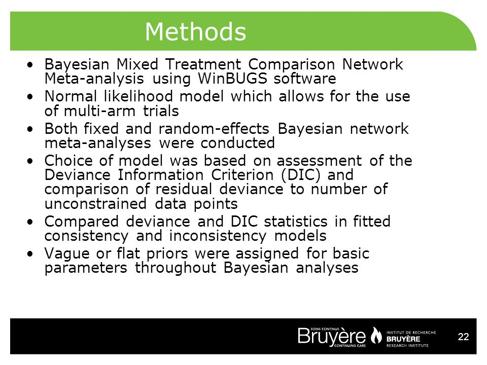 22 Methods Bayesian Mixed Treatment Comparison Network Meta-analysis using WinBUGS software Normal likelihood model which allows for the use of multi-