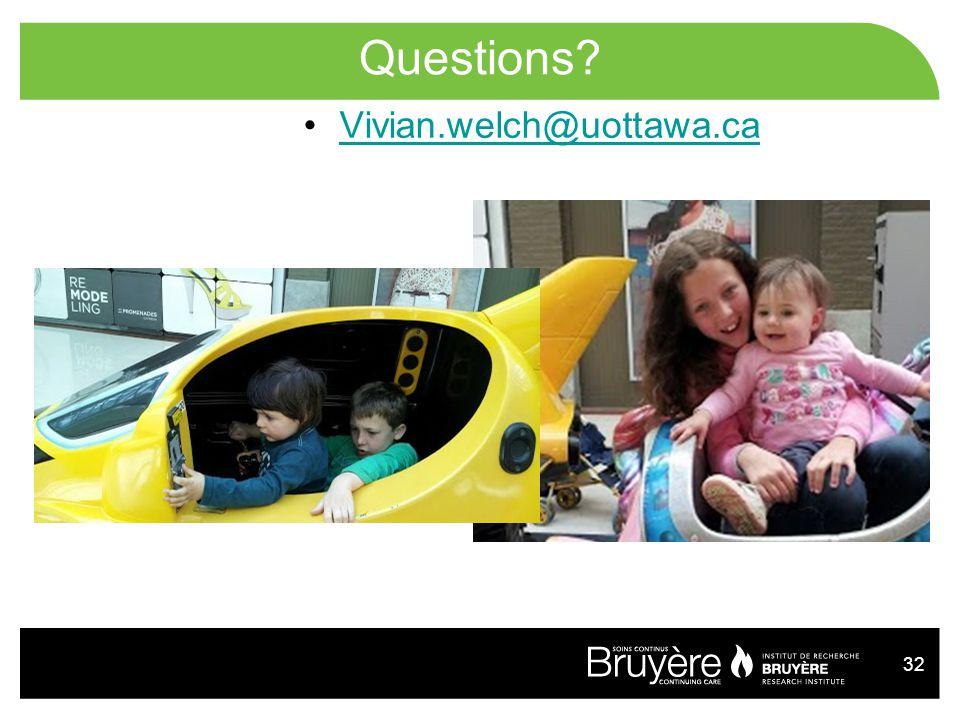 32 Questions? Vivian.welch@uottawa.ca