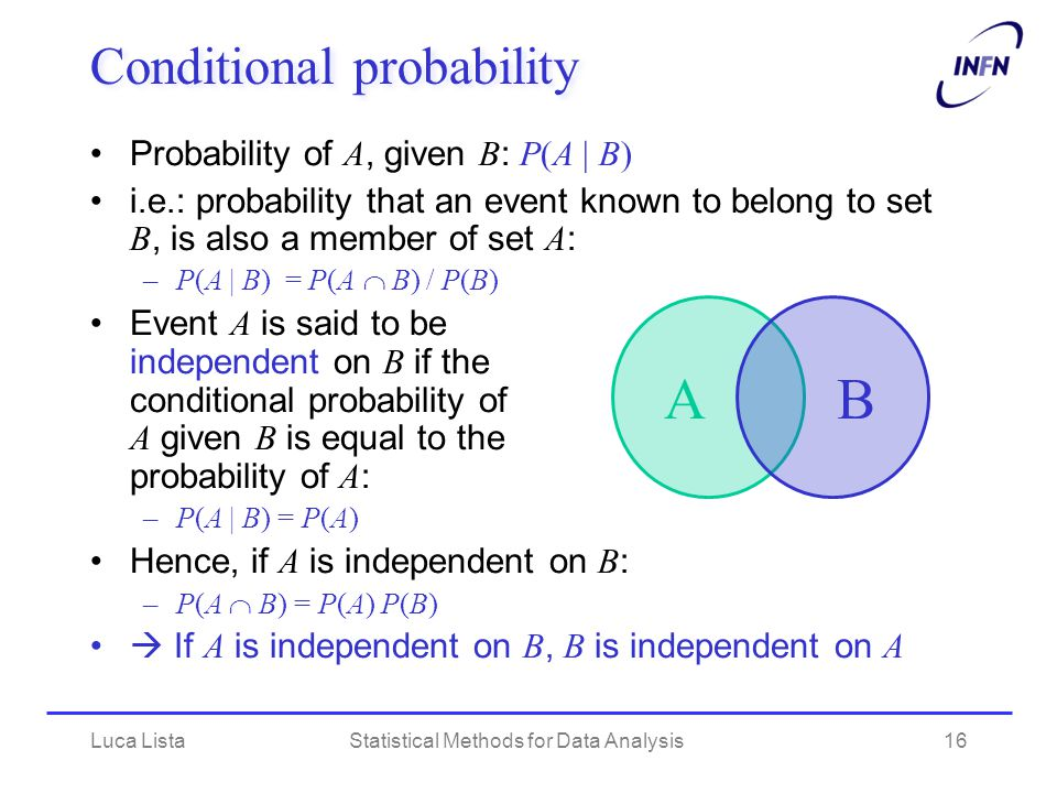Luca ListaStatistical Methods for Data Analysis16 Conditional probability Probability of A, given B : P(A | B) i.e.: probability that an event known to belong to set B, is also a member of set A : –P(A | B) = P(A  B) / P(B) Event A is said to be independent on B if the conditional probability of A given B is equal to the probability of A : –P(A | B) = P(A) Hence, if A is independent on B : –P(A  B) = P(A) P(B)  If A is independent on B, B is independent on A AB