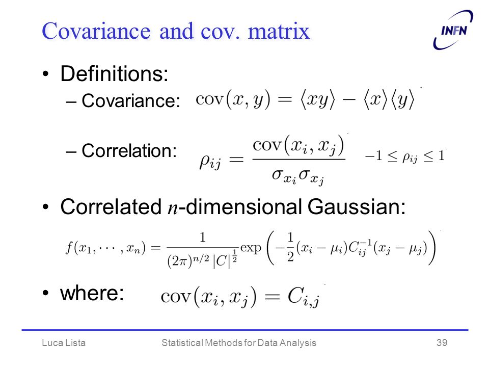 Luca ListaStatistical Methods for Data Analysis39 Covariance and cov.