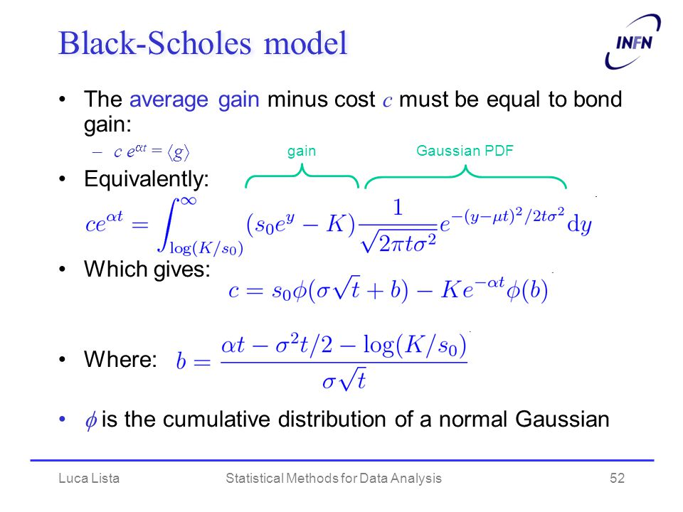 Luca ListaStatistical Methods for Data Analysis52 Black-Scholes model The average gain minus cost c must be equal to bond gain: –c e  t =  g  Equivalently: Which gives: Where:  is the cumulative distribution of a normal Gaussian gainGaussian PDF