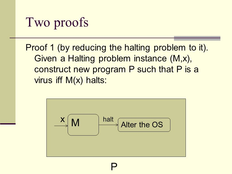 Two proofs Proof 1 (by reducing the halting problem to it).