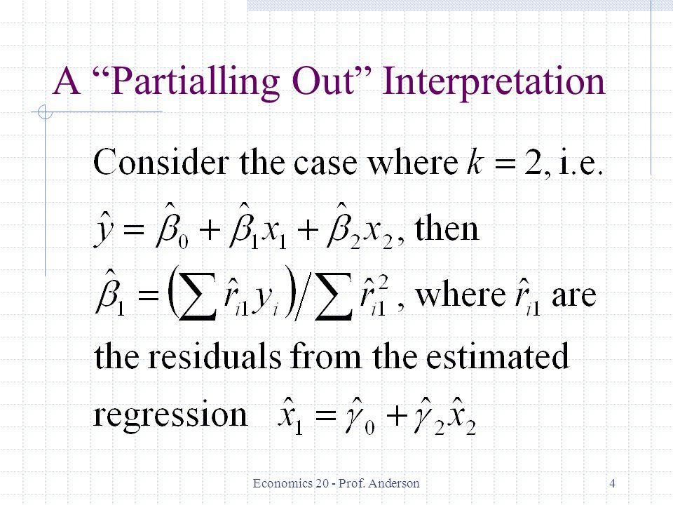 "Economics 20 - Prof. Anderson4 A ""Partialling Out"" Interpretation"