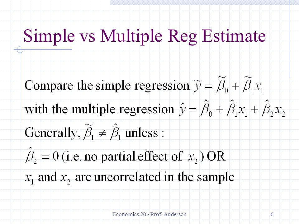Economics 20 - Prof. Anderson6 Simple vs Multiple Reg Estimate