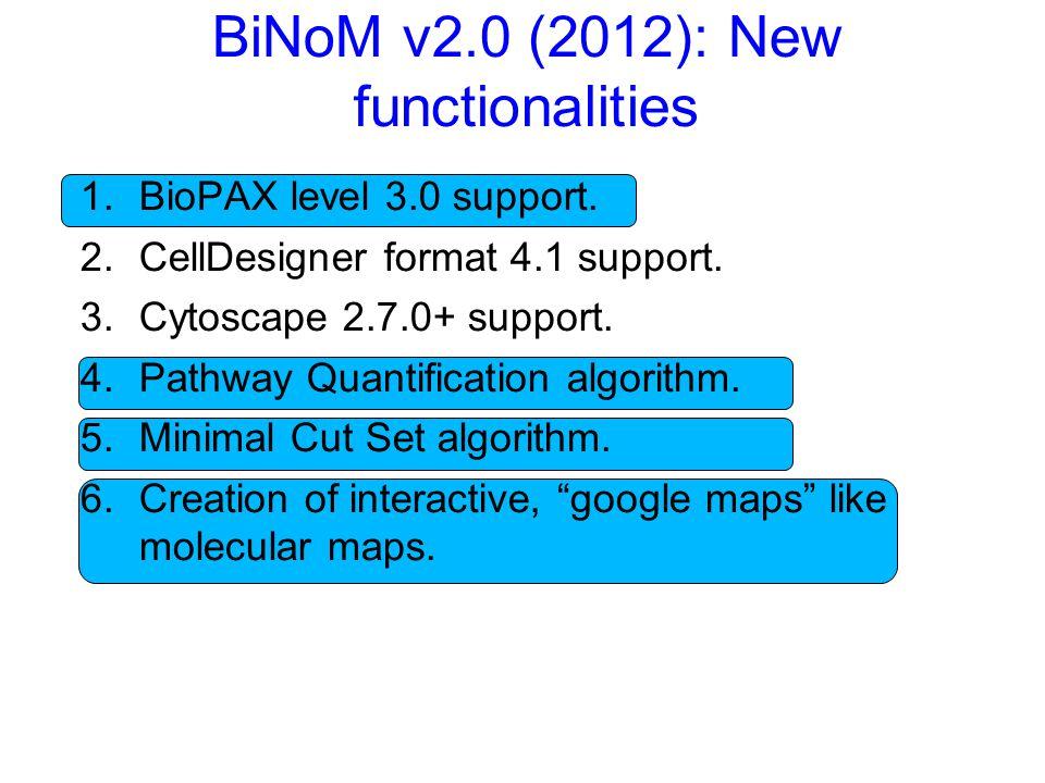 BiNoM v2.0 (2012): New functionalities 1.BioPAX level 3.0 support.