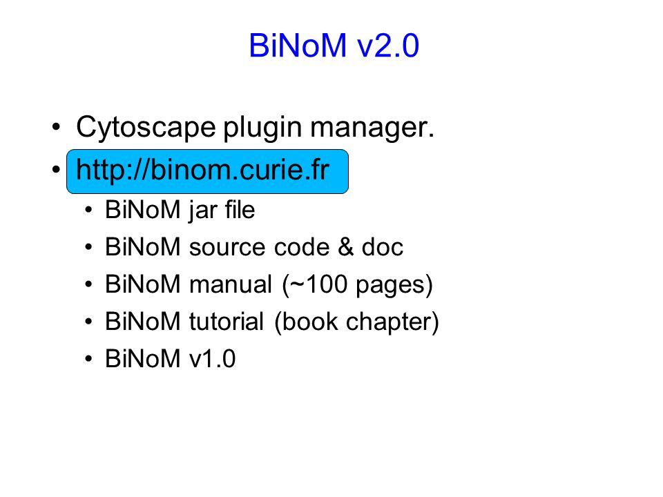 BiNoM v2.0 Cytoscape plugin manager.