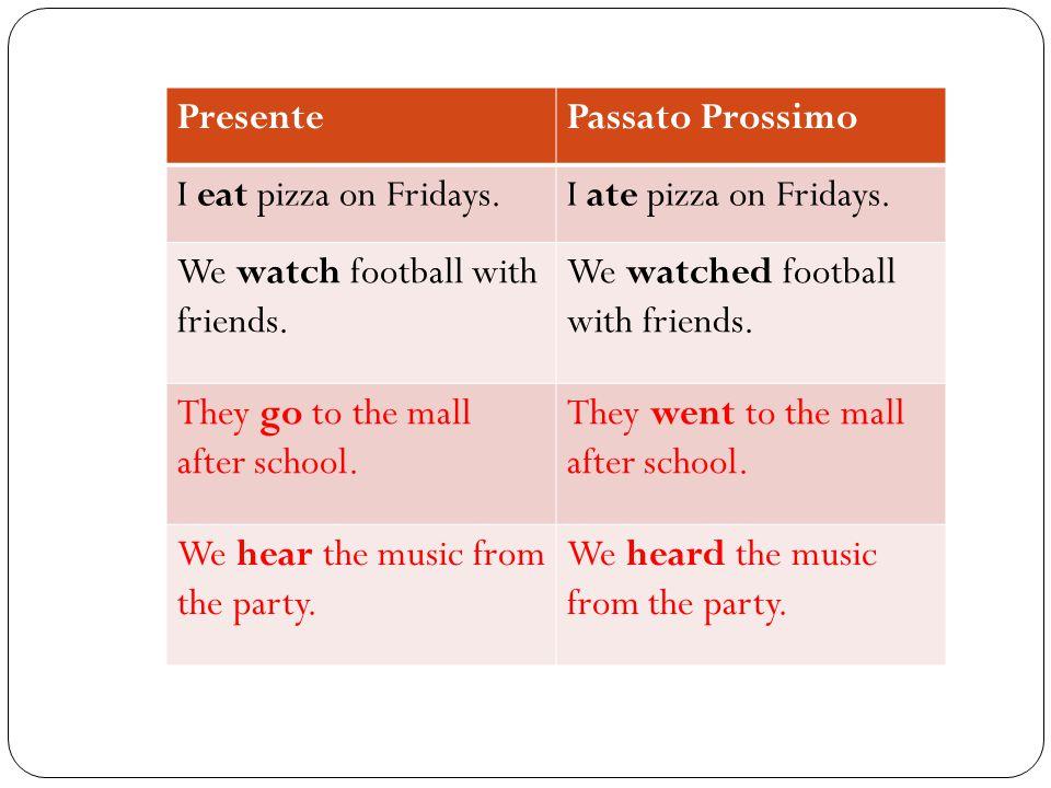 PresentePassato Prossimo I eat pizza on Fridays.I ate pizza on Fridays.