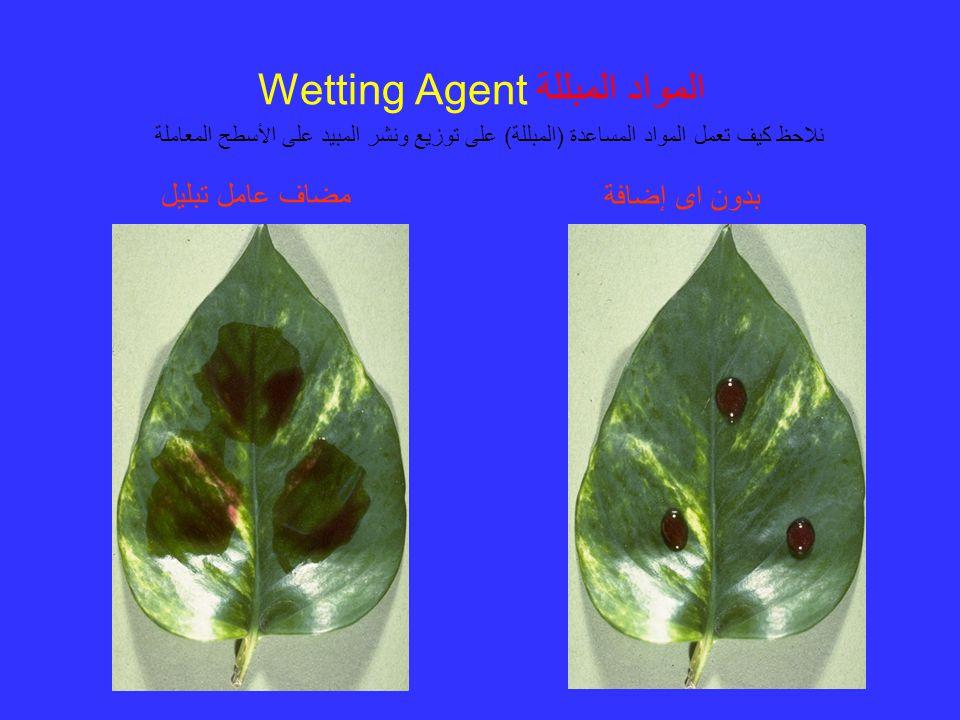 المواد المبللة Wetting Agent نلاحظ كيف تعمل المواد المساعدة (المبللة) على توزيع ونشر المبيد على الأسطح المعاملة مضاف عامل تبليل بدون اى إضافة