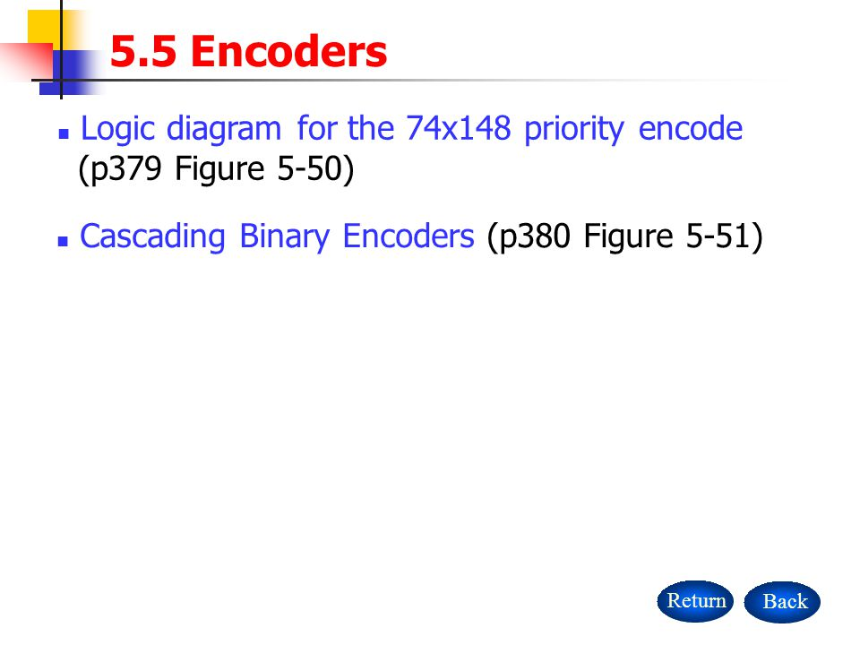 Logic diagram for the 74x148 priority encode (p379 Figure 5-50) 5.5 Encoders BackReturn Cascading Binary Encoders (p380 Figure 5-51)