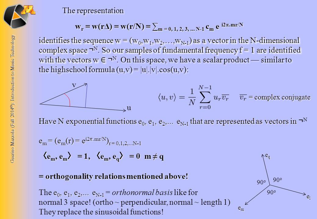 Guerino Mazzola (Fall 2014 © ): Introduction to Music Technology The representation w r = w(rΔ) = w(r/N) = ∑ m = 0, 1, 2, 3,... N-1 c m e i2 .mr/N id
