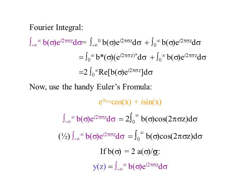 Fourier Integral: ∫ -∞ ∞ b(  )e i2  z d  = ∫ -∞ 0 b(  )e i2  z d  ∫ 0 ∞ b(  )e i2  z d   ∫ 0 ∞ b*(  )(e i2  z)* d  ∫ 0 ∞ b( 
