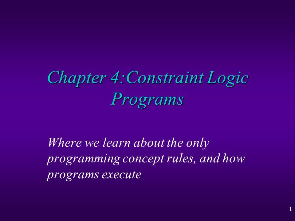 2 Constraint Logic Programs u User-Defined Constraints u Programming with Rules u Evaluation u Derivation Trees and Finite Failure u Goal Evaluation u Simplified Derivation Trees u The CLP Scheme