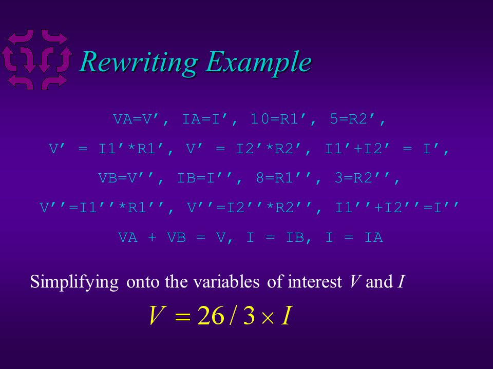 10 Rewriting Example parallel_resistors(VA,IA,10,5), parallel_resistors(VB,IB,8,3), VA + VB = V, I = IB, I = IA Rewrite the first literal with rule pa